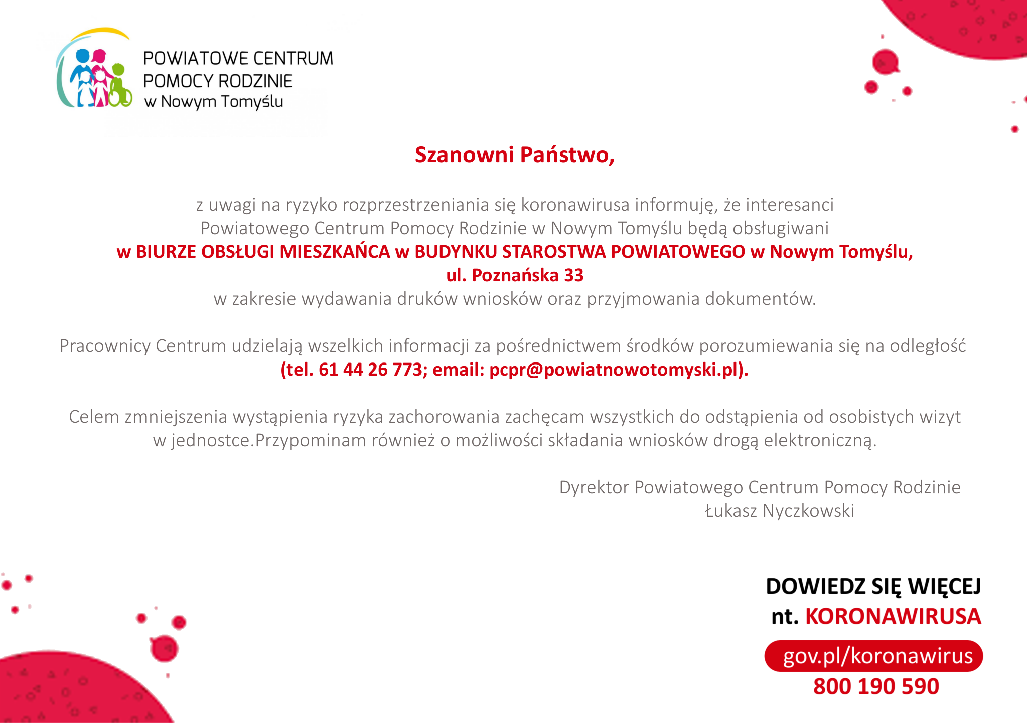 Ilustracja do informacji: Informacje dotyczące funkcjonowania Powiatowego Centrum Pomocy Rodzinie