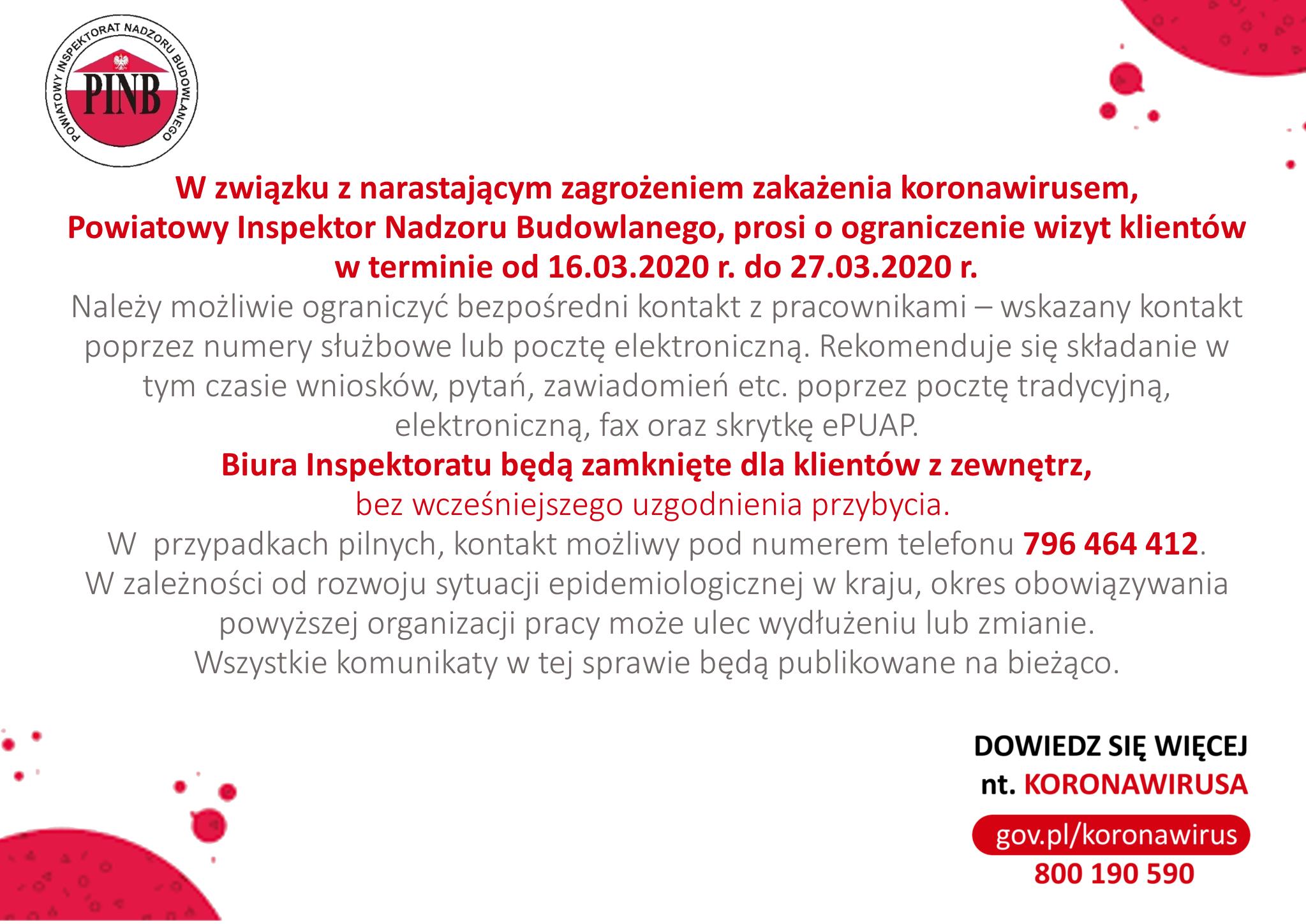 Ilustracja do informacji: Komunikat Powiatowego Inspektora Nadzoru Budowlanego dotyczący organizacji pracy w związku z zagrożeniem zakażenia koronawirusem.