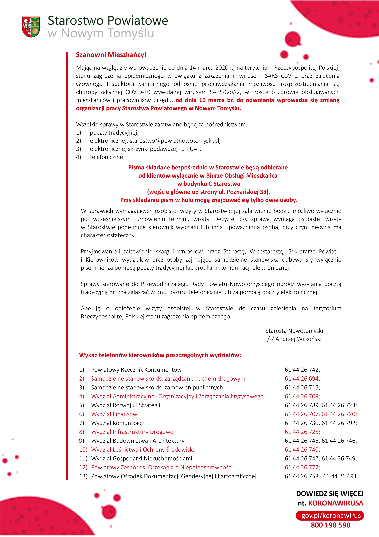 Ilustracja do informacji: Zmiana organizacji pracy Starostwa