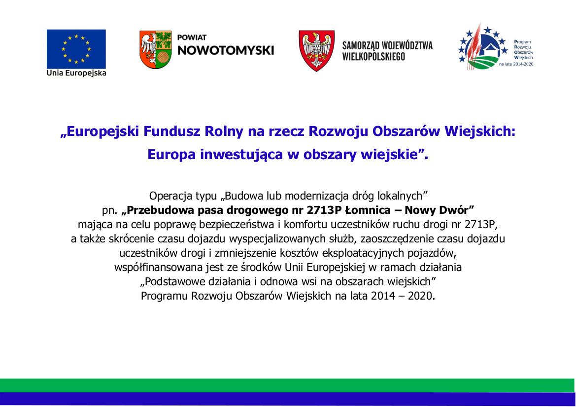 Ilustracja do informacji: Przebudowa pasa drogowego nr 2713P Łomnica – Nowy Dwór