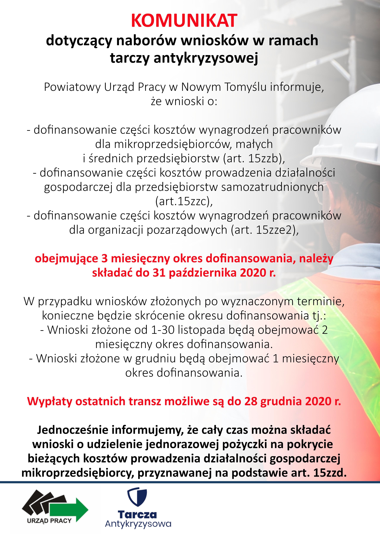 Ilustracja do informacji: Komunikat dotyczący naborów wniosków w ramach tarczy antykryzysowej