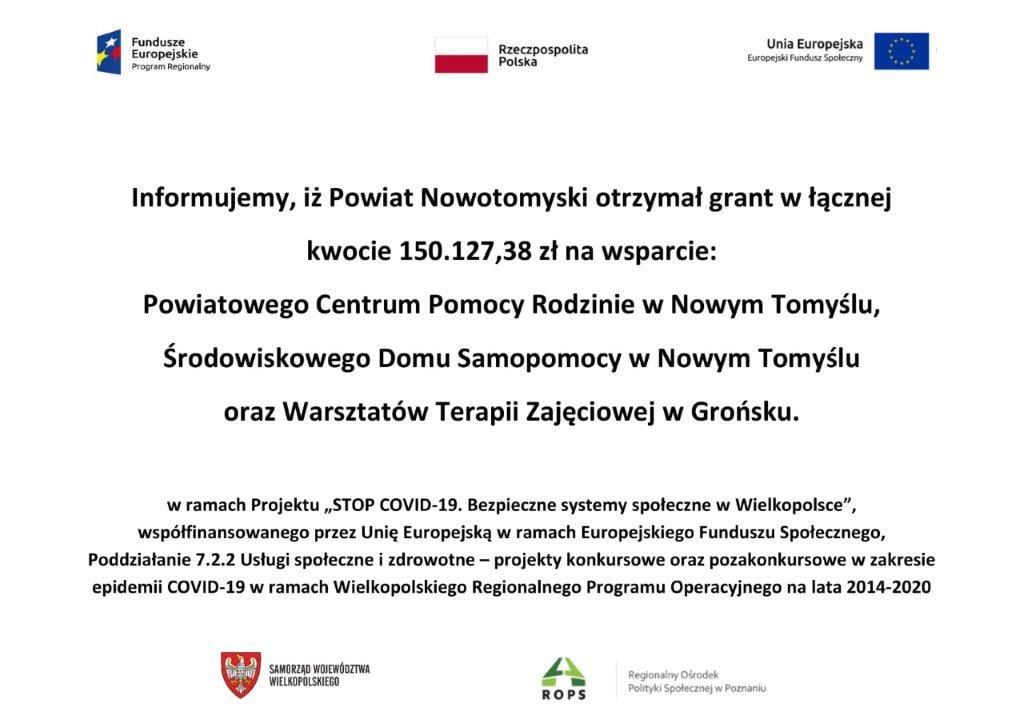 Ilustracja do informacji: Powiat Nowotomyski otrzymał grant w łącznej kwocie 150.127.38 zł